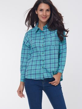 Ericdress Loose Single-Breasted Plaid Blouse