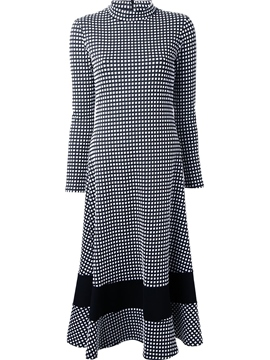Ericdress Plaid Stand Collar Patchwork Maxi Dress