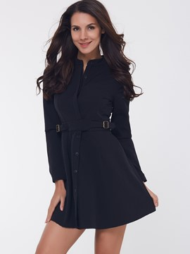Ericdress A Line Single-Breasted Belt Coat