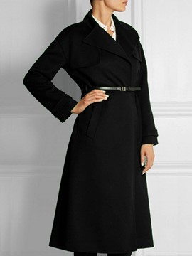 Ericdress Black with Belt A Line Trench Coat