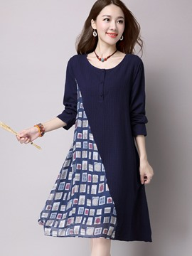 Ericdress Patchwork A-Line Loose Casual Dress