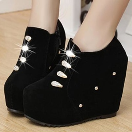 Ericdress Suede Rhinestone Wedge Ankle Boots