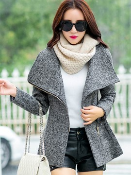 Ericdress Slim Asymmetric Turn-Down Coat