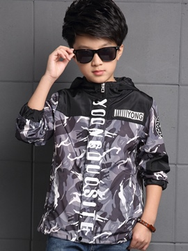 Ericdress Camo Letter Printed Hooded Patchwork Boys Outerwear