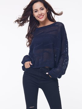 Ericdress Loose Hollow Solid Color Knitwear