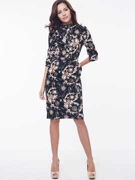 Ericdress Print Three-Quarter Sleeve Sheath Dress