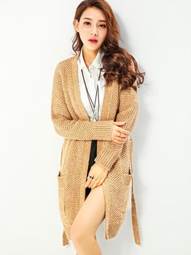 Ericdress Khaiki Belt Long Cardigan Knitwear