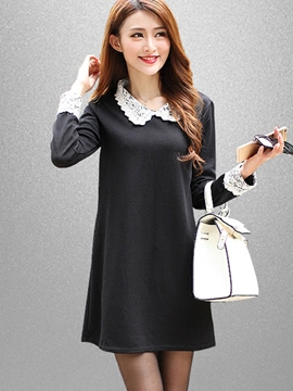 Ericdress Lace Patchwork Peter Pan Collar A-Line Casual Dress