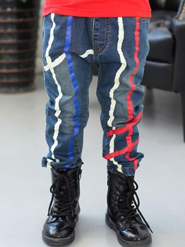 Ericdress Paint Strips Worn Denim Boys Bottom