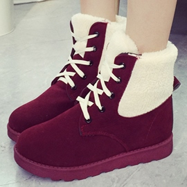 Ericdress Lovely Suede Lace-Up Snow Boots