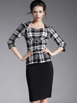 Ericdress Plaid Patchwork Square Neck Sheath Dress