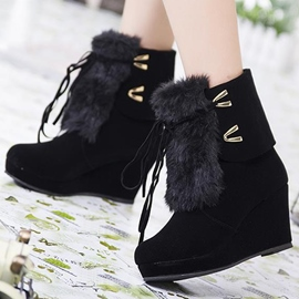 Ericdress Unique Platform Round Toe Ultra-High Wedge Ankle Boots