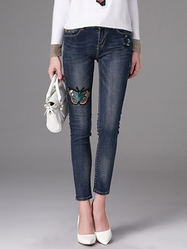 Ericdress Embroidery Animal Denim Skinny Jeans