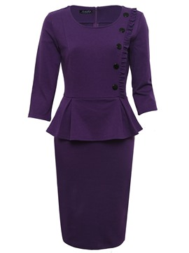 Ericdress Plain Three-Quarter Sleeve Double-Layer Sheath Dress