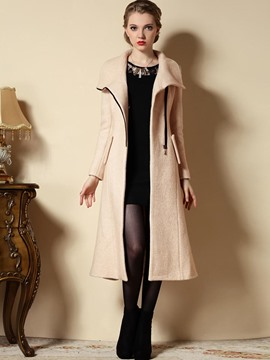 Ericdress Lapel Oblique Zipper Slim Trench Coat
