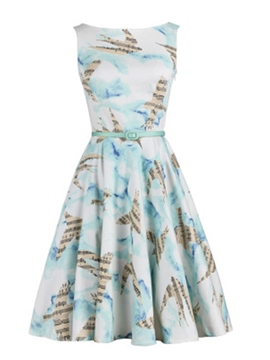 Ericdress Print Round Neck Sleeveless Casual Dress