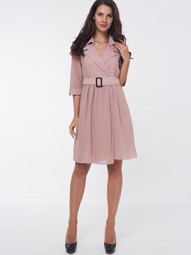 Ericdress Plain Notched Lapel Three-Quarter Sleeve Casual Dress