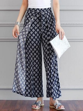 Ericdress Simple Print Wide Legs Pants