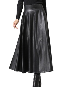 Ericdress Fashion PU Maxi Skirt