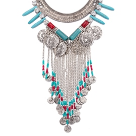 Ericdress Ancient Silver Tassel Turquoise Necklace