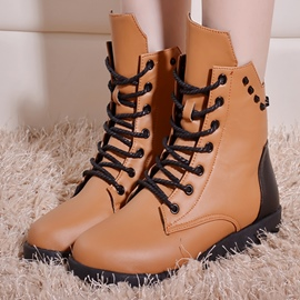 Ericdress Patchwork Lace up Rivets Ankle Boots