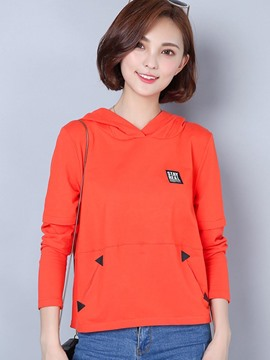 Ericdress Orange Red Hooded Zipper T-Shirt