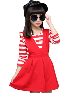 Ericdress Large V-Shaped Pleated Strips Two-Piece Girls Outfit