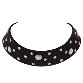 Ericdress Rivets Decorated PU Choker Necklace