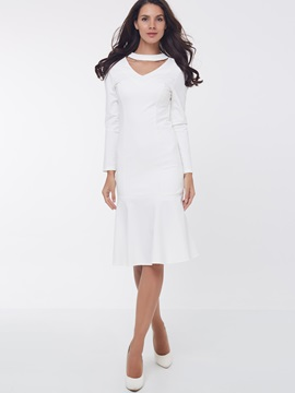 Ericdress Plain Mermaid Hollow Sheath Dress