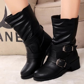 Ericdress Black PU Buckles Ankle Boots
