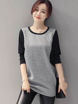 Ericdress Straight Color Block Batwing T-Shirt