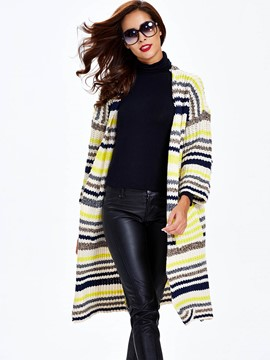Sisjuly Fine Stripe Long Cardigan Knitwear