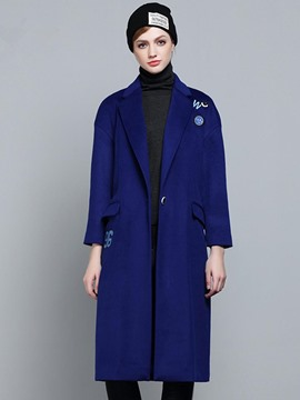 Ericdress Blue Lapel One Button Trench Coat