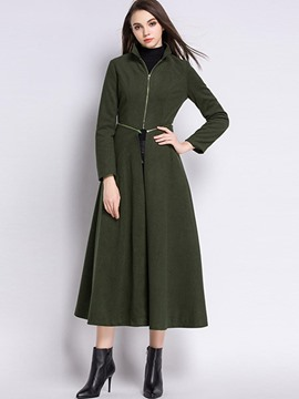 Ericdress Multiple-Color Zipper A Line Trench Coat