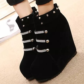 Ericdress Suede Rivets&rhinestone Wedge Ankle Boots