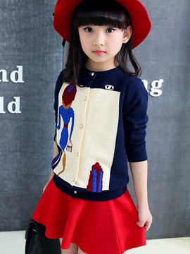 Ericdress Color Block Knitting Cartoon Girls Tops