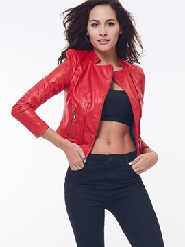 Ericdress Red Zipper Motorcycle Jacket