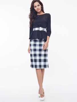 Ericdress Simple Plaid Skirt Suit