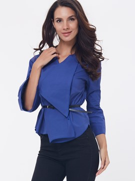 Ericdress Solid Color Turn-Down Slim Blouse