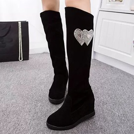 Ericdress Chic Rhinestone Hearts Embellished Knee High Boots