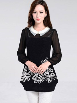 Ericdress Floral Crochet Black Blouse