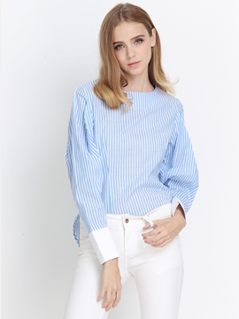 Ericdress Blue Fine Stripe Blouse
