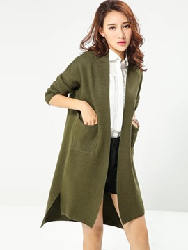 Ericdress Solid Color Loose Cardigan Knitwear