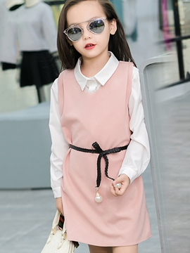 Ericdress V Collar Straight Belt Two-Piece Girls Outfit