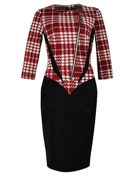 Ericdress Plaid Oblique Zipper Patchwork Sheath Dress