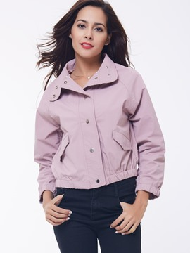 Ericdress Pink Lapel Single-Breasted Bomber Jacket