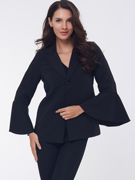 Ericdress Black Flare Sleeve Blazer