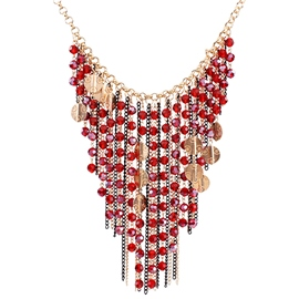 Ericdress Multilayer Crystal Tassels Necklace