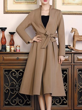 Ericdress Slim Belt A-Line Trench Coat