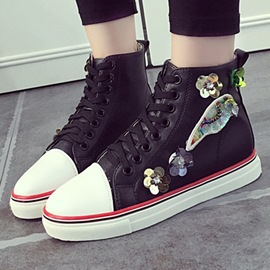 Ericdress Flower Applique Lace-Up Canvas Shoes